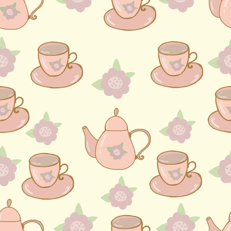 Seamless nature pattern teapot and cup shabby chic Vector