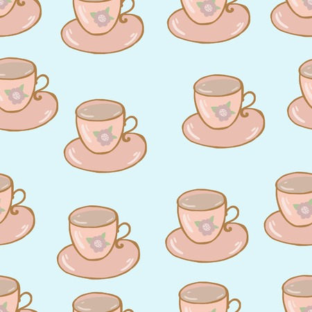 Cups seamless pattern shabby chic hand drawn style Vector