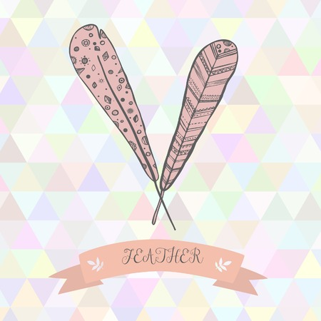 Triangle bakdrop feather hand drawn style pink Vector