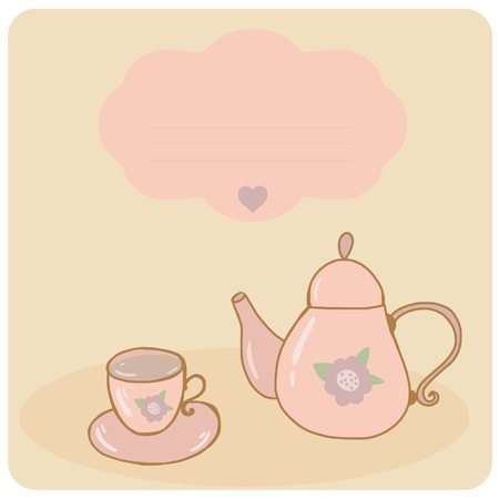 chinese tea pot: Card teapot and cup pastel hand drawn style Illustration