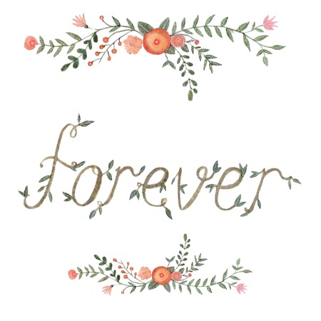forever: Watercolor floral forever sign  hand drawn vector Illustration