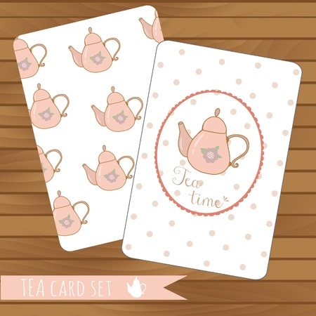 Teapot cards events, tea party, vector on wood background. Use for invitations.Place for text.  Teapot hand drawn pattern Vector