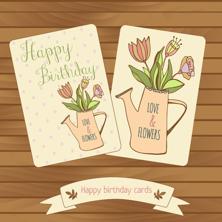pastel colour: Happy birthaday card in wood background. Gretting cards flowers bouquet in watercan. Pastel colour Illustration