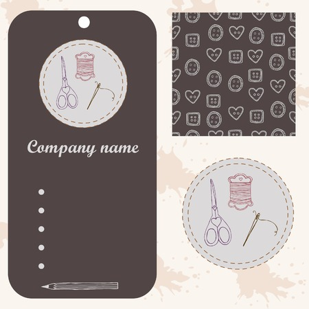 ellements: Sewing set logo, tag and logo and seamless pattern. Design art ellements