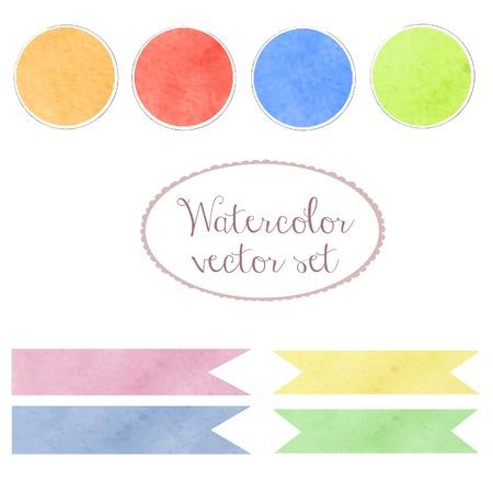 ellements: Watercolor design vector art set ellements. Palette, ribbons and banners