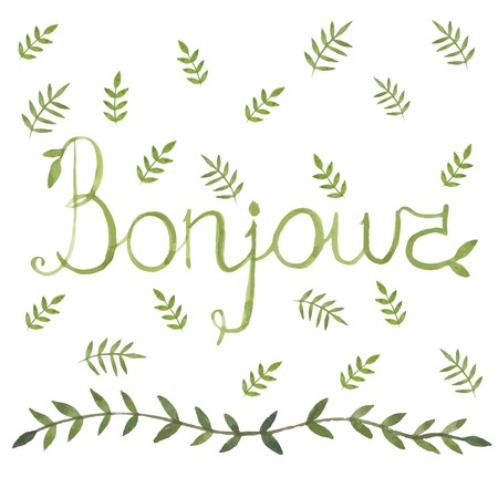bonjour: Bonjour french sign with nature art leaf ornamen watercolor design arounf