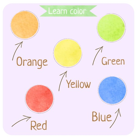 color swatches: Learn color for kids. Education poster. Watercolor palette dot