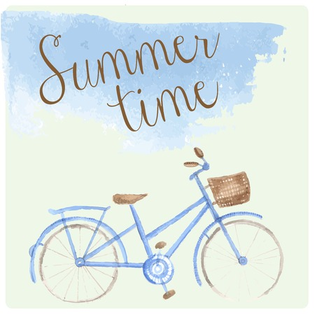 peddle: Summer time watercolor hand drawn bicycle. Patel tender color