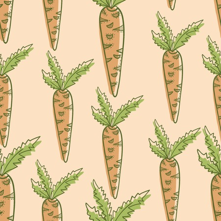 salat: Vegetable carrot seamles hand drawn colorful pattern
