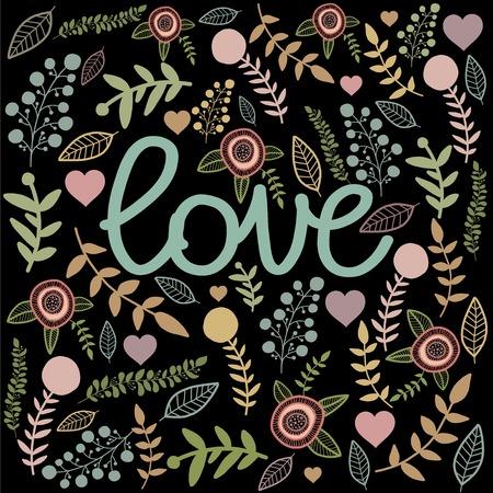 ellements: Love sign card on black drop. Colorful nature hand drawn ellements. Illustration