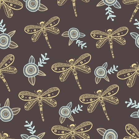 dragonfly wings: Vector dragonfly and flowers seamless pattern. Hand drawing colorful illustration