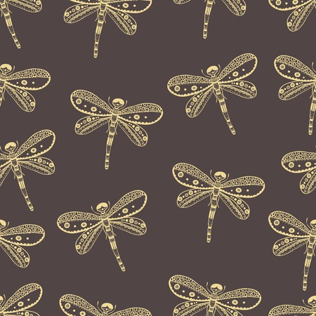 dragonfly wing: Dragonfly seamless nature pattern. Hand drawn style Illustration