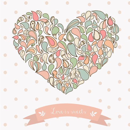 Turkish cucumber ornament heart. Hand drawn style colorful pastel Vector