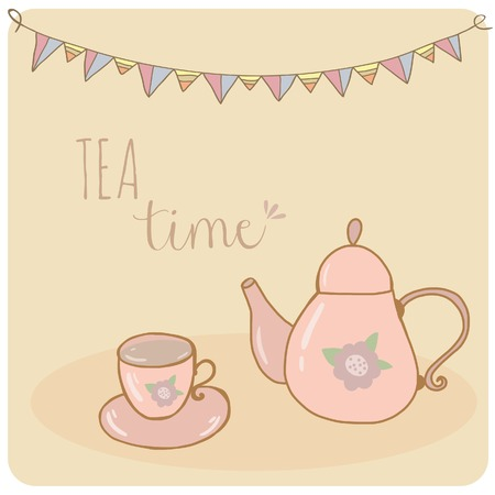 drinks party: Card teapot and cup pastel hand drawn style  tea time Illustration