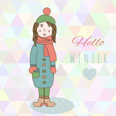 catoon: Catoon hand drawing girl in winter clothes look, shoe, mitten and jacket winter style