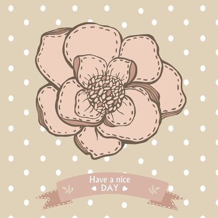 Have a nice day card with graphic hand drawing flower and ribbon Illustration