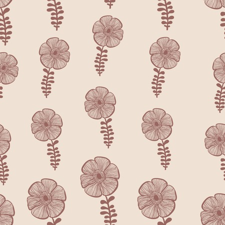 Red abstract flowers nature seamless pattern Vector