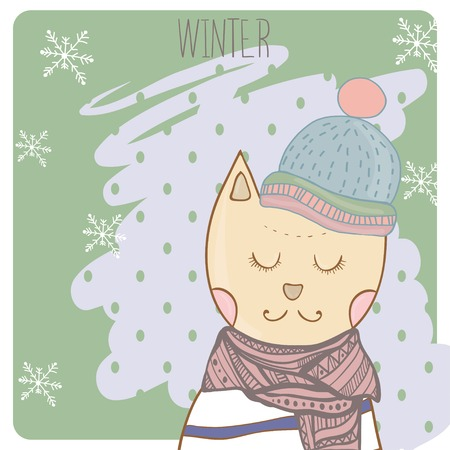 Winter cat in clothes scharf and hat. Hand drawn illustration Vector