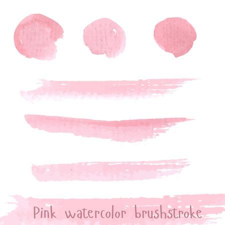 Hand drawn pink paint brushstroke watercolor Illustration
