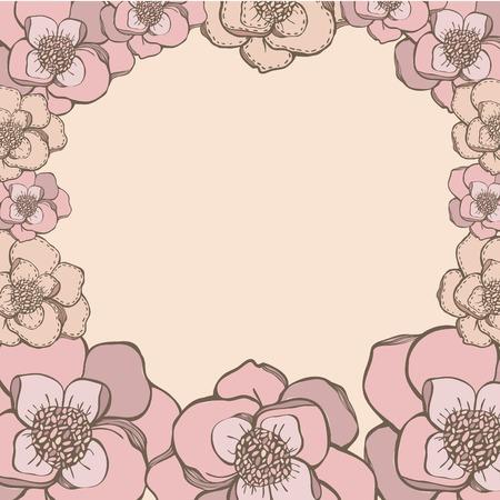 flores color pastel: Estilo de dibujo a mano de color rosa flores en colores pastel marco.