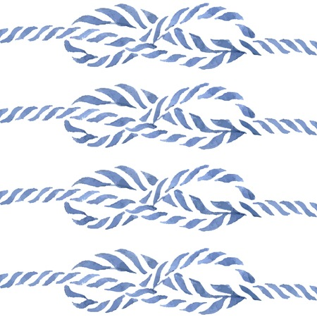 rope: Blue rope knot  eight hand drawn watercolor illustration set