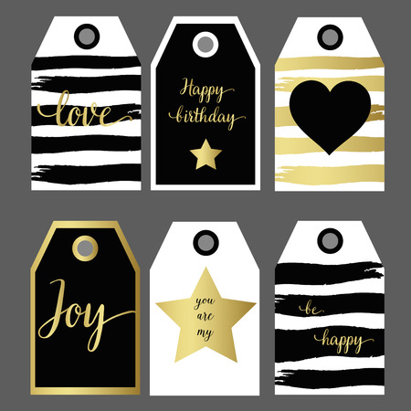 A set 6 design gift tag fashion design black and gold hand drawing