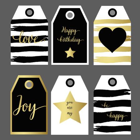 Un ensemble de conception 6 étiquette de cadeau design de mode de dessin à la main noir et or Vecteurs