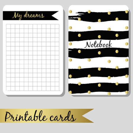 notebook design: Printable cards for notes, design notebook black and gold colors, brush stroke hand drawn