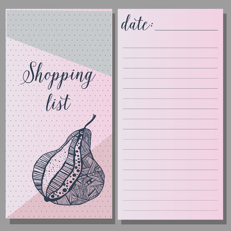 cite: Shopping list. printable journaling cards, for organizer. notebook web cite. Blue and pink, calligraphy, heart pattern