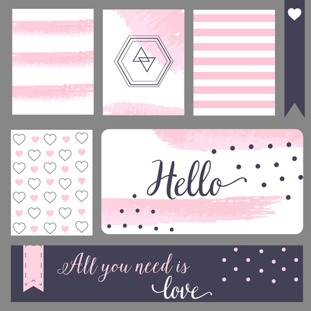 cite: Printable journaling cards. For notebook, notepad, web cite. Calligraphy style and polka dot, blue and pink