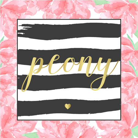 peony black: Wreath frame hand drawn watercolor peony black brush stroke and sign gold