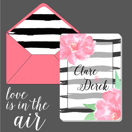 peony black: Set envelope and save the date card black brush stroke and pink  watercolor peony flower