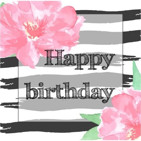 peony black: Happy birthday card with hand drawn watercolor peony, black brush stroke