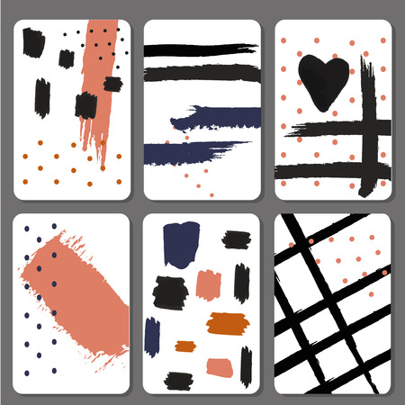 hello heart: Set 6 printable cards with black brush stroke design printable cards graphic stylish