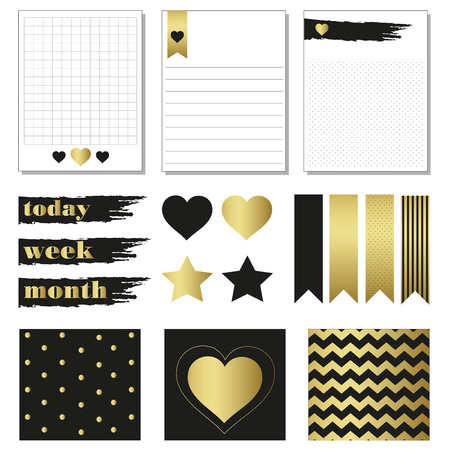 organized: Cards and symbols for organized you planner. Printable cards. Luxurary style black and gold. Seamless pattern