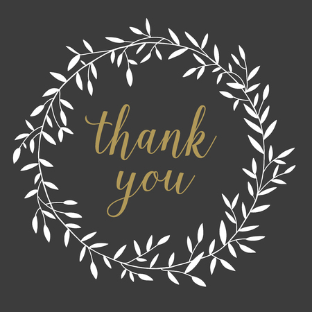thanks you: Hand drawn nature wreath leaves with lettering thank you