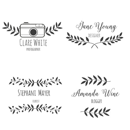 Set logo hand drawn nature brunch. Black and white. For photographer