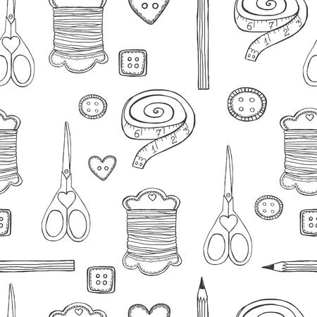 maquinas de coser: La mano sin fisuras patr�n dibujado doodle de costura blanco y negro Vectores