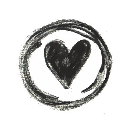 indentation: Hand drawn black ink heart stamp. Vector illustration Illustration