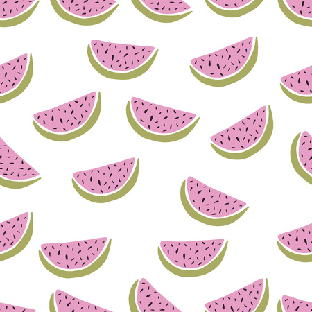 watermelon slice: Seamless background with hand drawn watermelon  cartoon slices. Vector illustration.