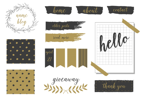 blog design: A set of trendy blog design elements in blush pink, gold and black. Buttons, wreaths, icons, arrows, decorative borders and text dividers.  Polka dor and wreath