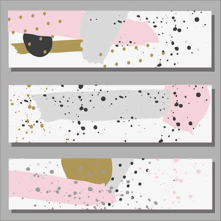 baner: Freehand drawn baner ink line and dot ornament abstract, brush stroke and splash. Pastel grey, pink and gold Illustration