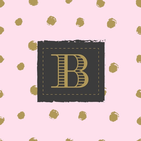 endorsed: Monogram on hand drawn ink background polka dot. Black and gold colors