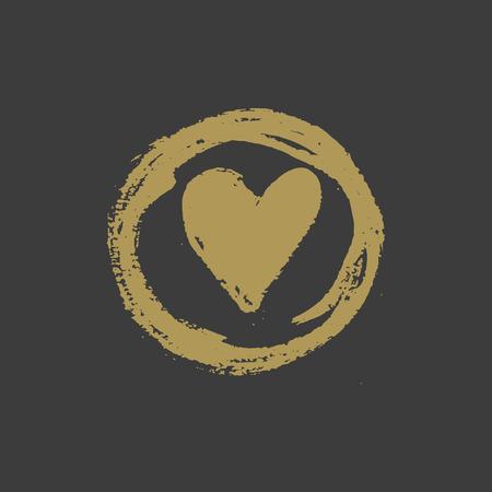 approbation: Hand drawn gold ink heart stamp design. Vector illustration Illustration