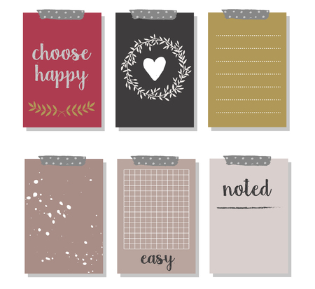 organizer: Set of 6 creative journaling cards and gift cards.  Hand drawn ink. Holidays style