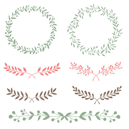 laurel mountain: Nature set brunches and wreath hand drawn design