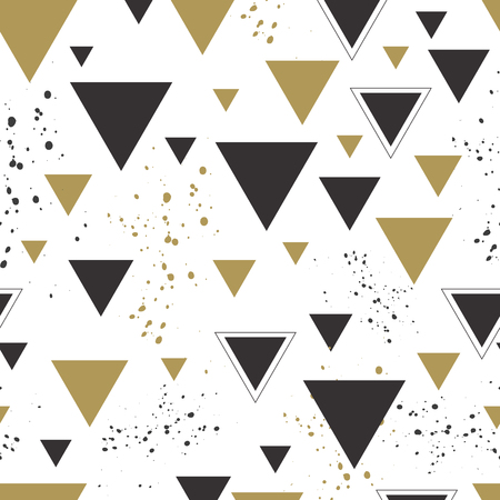 Triangle graphic seamless pattern. Grey and gold color
