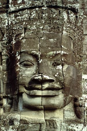 archaeological complex: The Bayon Temple of the Angkor Wat Archaeological Complex in Cambodia presents 54 towers decorated with 216 statues of enigmatic smiling faces over 6 feet high.