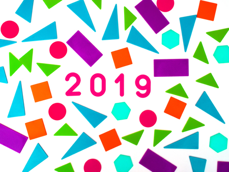 2019, Greeting card. Happy New Year or Merry Christmas. Holiday background, banner, poster.Punchy Pastel background.