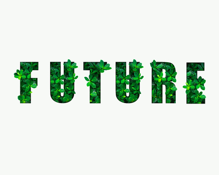 Word FUTURE from green leaves